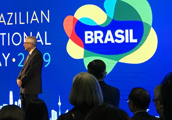 Visual identity, display/LED panel and signage design for the 2018 Brazil National Day organized by the Brazilian General Consulate in Hong Kong. The event, held at the Wanchai Renaissance Hotel, was the first one organized by the Brazilian Consulate in more than 10 years. Simple static designs were created since the hotel technical specifications did not allow video or animations. 								<br><br>